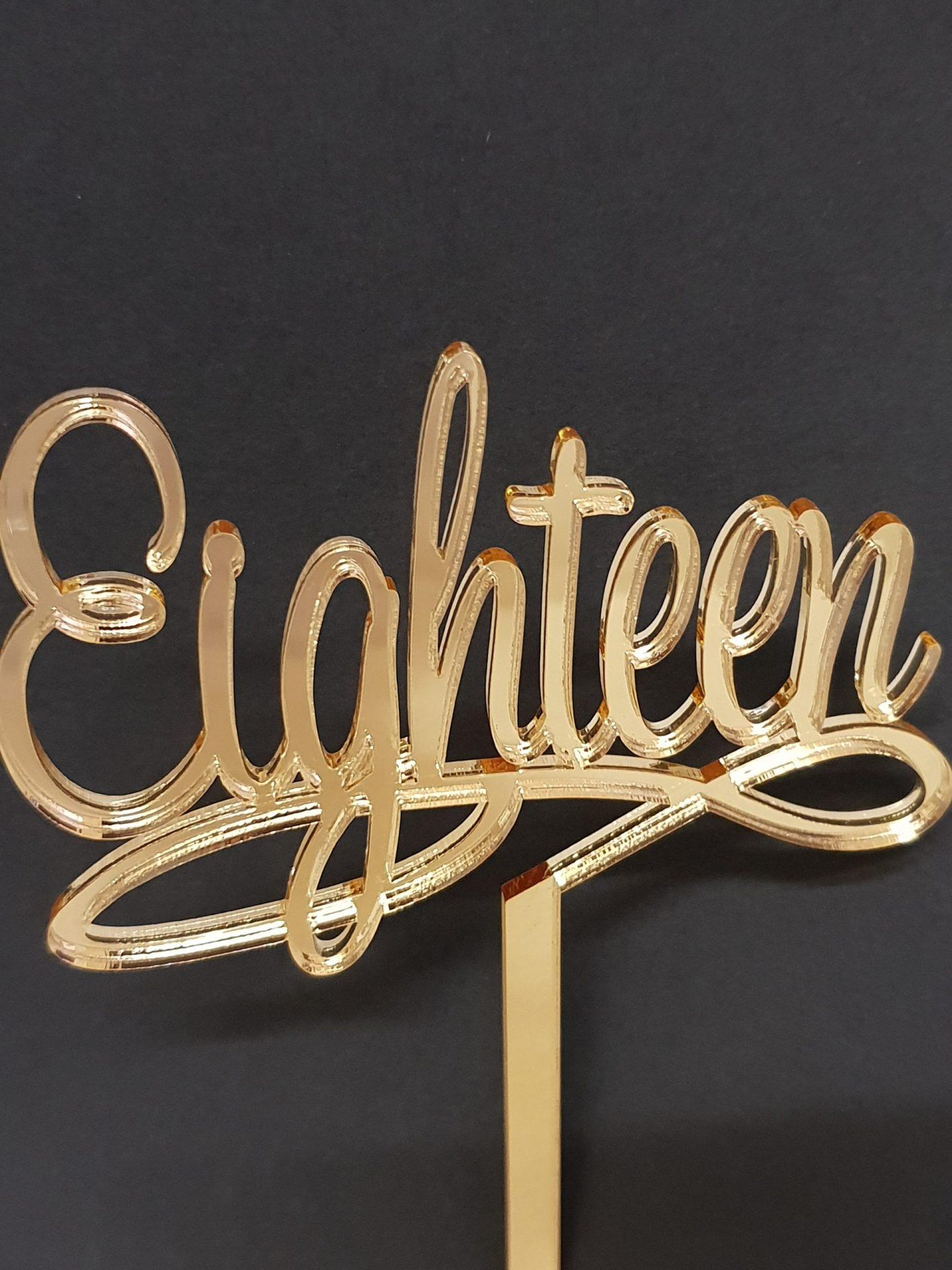 Acrylic Cake Topper - Eighteen
